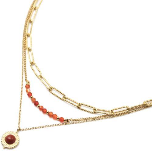 Collier-Triple-Chaines-Maillons-Perles-et-Pierre-Orange-Contour-Acier-Dore