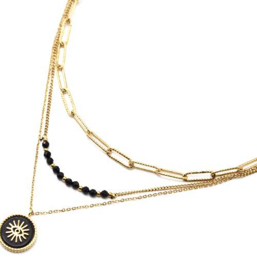 Collier-Triple-Chaines-Maillons-Perles-et-Pierre-Noire-Oeil-Acier-Dore