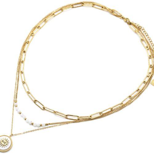 Collier-Triple-Chaines-Maillons-Perles-et-Pierre-Blanche-Oeil-Acier-Dore