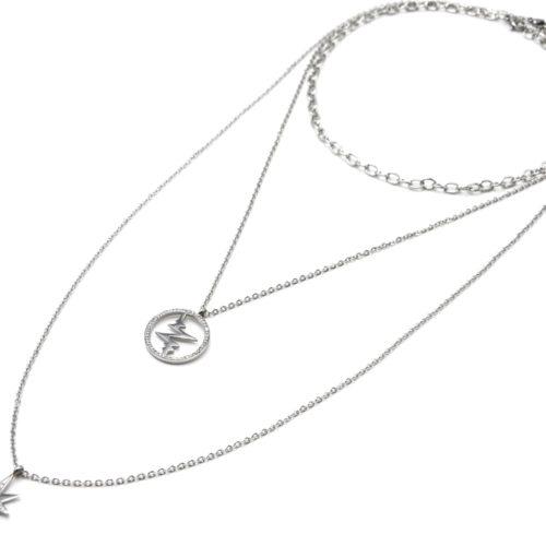 Sautoir-Collier-Triple-Chaines-Acier-Argente-avec-Cercle-Battements-et-Etoile-Strass