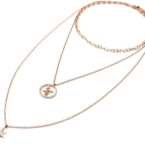 Sautoir-Collier-Triple-Chaines-Acier-Or-Rose-avec-Cercle-Battements-et-Etoile-Strass