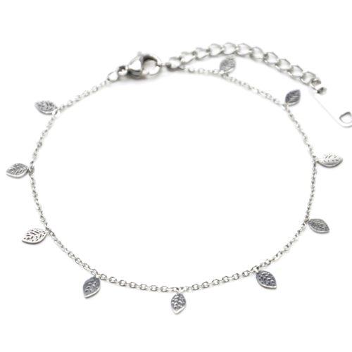 Bracelet-Fine-Chaine-avec-Mini-Pampilles-Feuilles-Acier-Argente