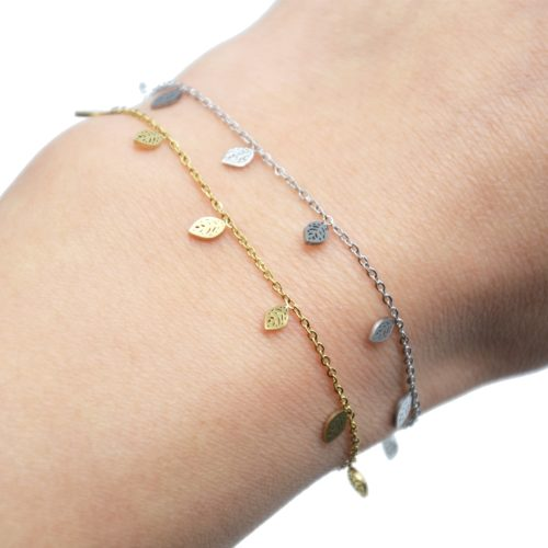 Bracelet-Fine-Chaine-avec-Mini-Pampilles-Feuilles-Acier