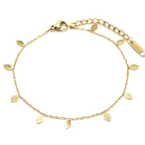 Bracelet-Fine-Chaine-avec-Mini-Pampilles-Feuilles-Acier-Dore
