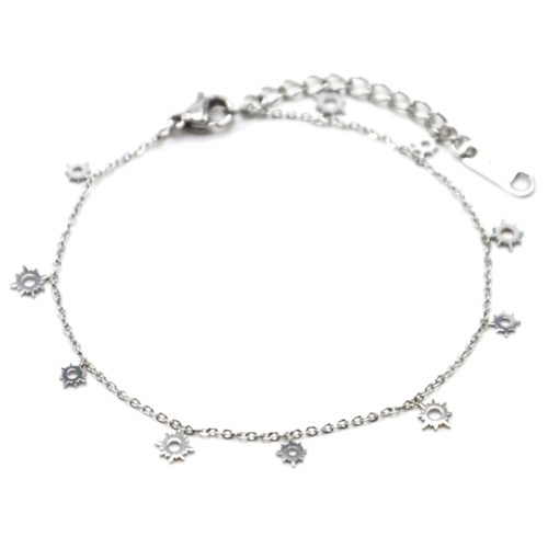 Bracelet-Fine-Chaine-avec-Mini-Pampilles-Soleils-Ajoures-Acier-Argente