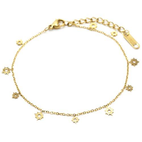 Bracelet-Fine-Chaine-avec-Mini-Pampilles-Soleils-Ajoures-Acier-Dore