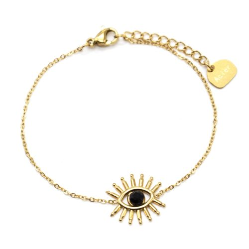 Bracelet-Fine-Chaine-avec-Oeil-Cils-Acier-Dore-et-Pierre-Noire