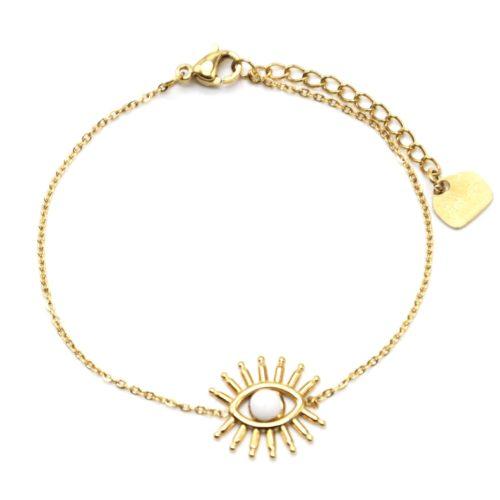 Bracelet-Fine-Chaine-avec-Oeil-Cils-Acier-Dore-et-Pierre-Blanche