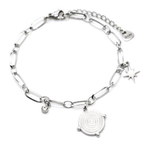 Bracelet-Chaine-Maillons-avec-Medaille-Points-et-Etoile-Acier-Argente