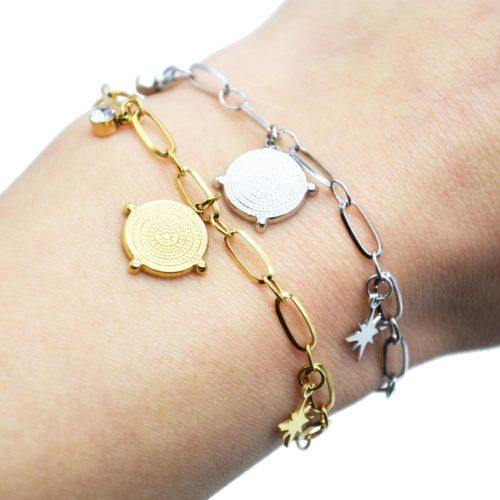 Bracelet-Chaine-Maillons-avec-Medaille-Points-et-Etoile-Acier