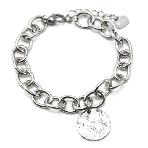 Bracelet-Chaine-Gros-Maillons-avec-Medaille-Martelee-Acier-Argente