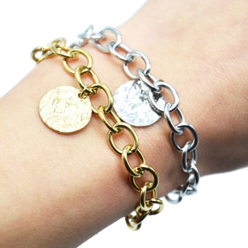 Bracelet-Chaine-Gros-Maillons-avec-Medaille-Martelee-Acier