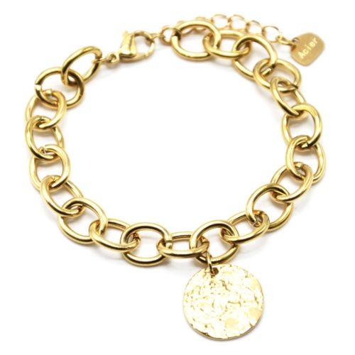 Bracelet-Chaine-Gros-Maillons-avec-Medaille-Martelee-Acier-Dore