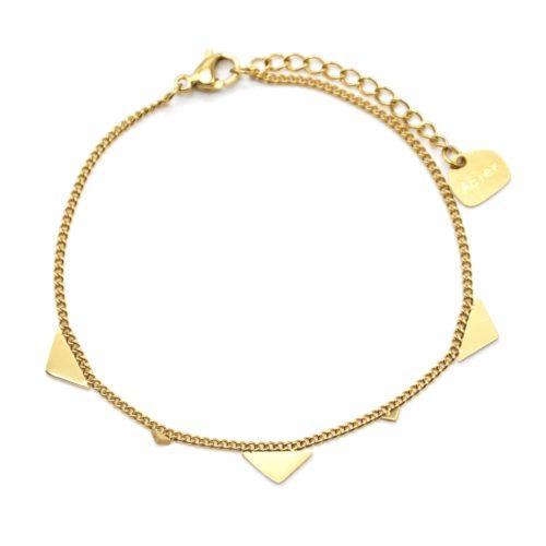 Bracelet-Fine-Chaine-avec-Pampilles-Triangles-Assortis-Acier-Dore