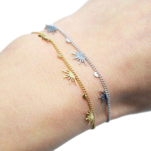 Bracelet-Fine-Chaine-avec-Pampilles-Demi-Soleils-Assortis-Acier