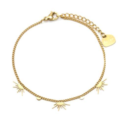 Bracelet-Fine-Chaine-avec-Pampilles-Demi-Soleils-Assortis-Acier-Dore