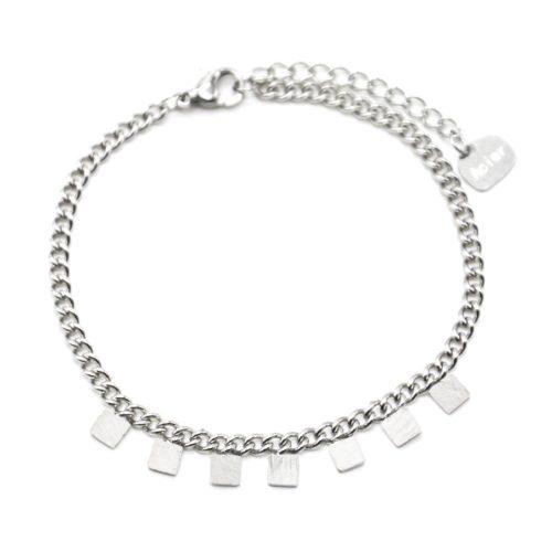 Bracelet-Chaine-Maillons-Fins-avec-Pampilles-Carres-Patines-Acier-Argente