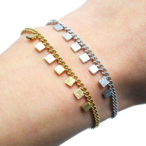 Bracelet-Chaine-Maillons-Fins-avec-Pampilles-Carres-Patines-Acier