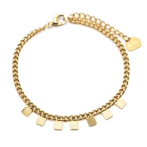 Bracelet-Chaine-Maillons-Fins-avec-Pampilles-Carres-Patines-Acier-Dore