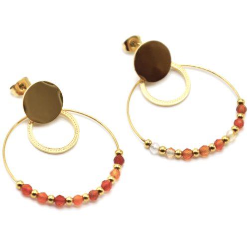 Boucles-dOreilles-Medaille-Cercles-Acier-Dore-avec-Billes-et-Perles-Oranges