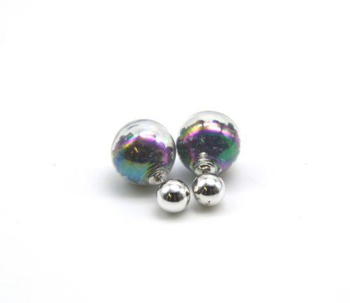 Boucles-dOreilles-Double-Mode-Boule-Metal-et-Verre-avec-Cristaux-Noir