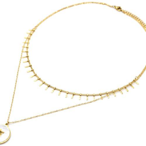 Collier-Double-Chaines-avec-Pampilles-Medaille-Nacre-Blanc-Etoile-Acier-Dore