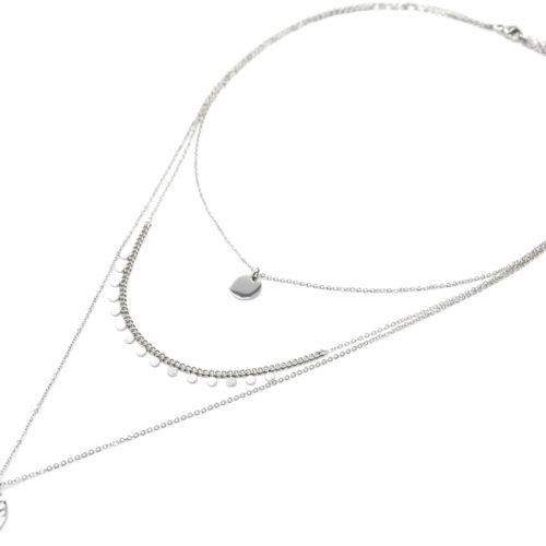 Collier-Triple-Chaines-avec-Cercle-Pampilles-et-Medaille-Martelee-Acier-Argente