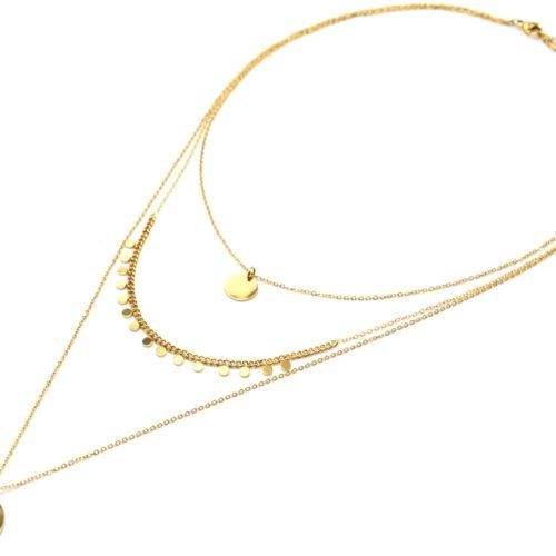 Collier-Triple-Chaines-avec-Cercle-Pampilles-et-Medaille-Martelee-Acier-Dore