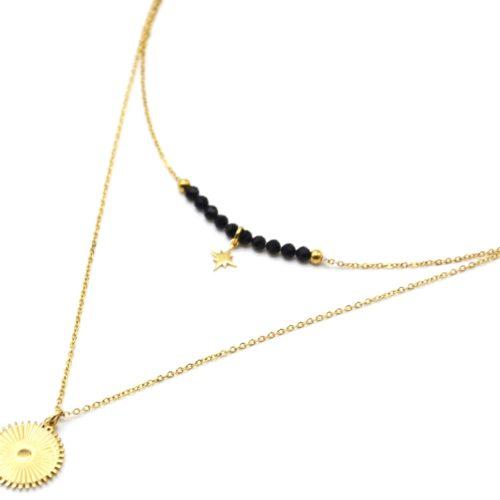 Collier-Double-Chaines-avec-Perles-Noires-Etoile-et-Soleil-Rayures-Acier-Dore