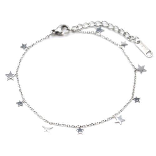 Bracelet-Fine-Chaine-avec-Pampilles-Etoiles-Acier-Argente