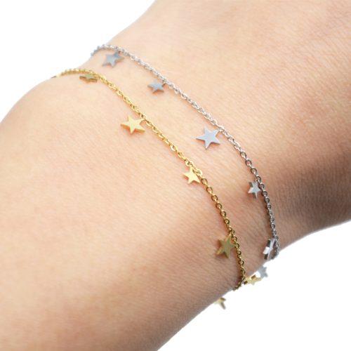 Bracelet-Fine-Chaine-avec-Pampilles-Etoiles-Acier