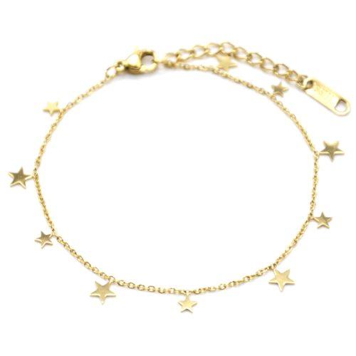 Bracelet-Fine-Chaine-avec-Pampilles-Etoiles-Acier-Dore
