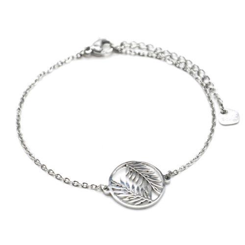Bracelet-Fine-Chaine-avec-Cercle-Ajoure-Feuilles-Acier-Argente