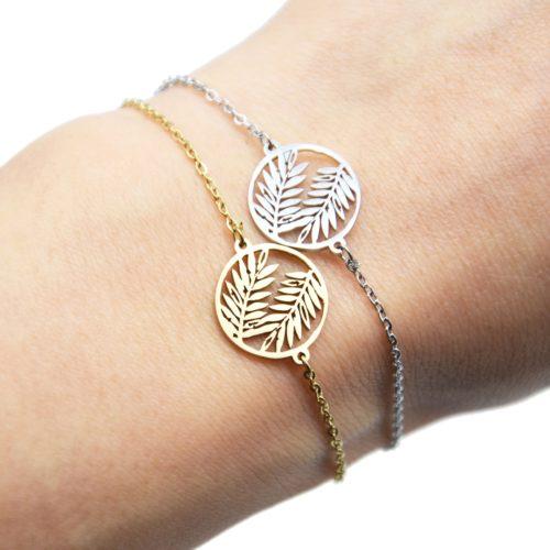 Bracelet-Fine-Chaine-avec-Cercle-Ajoure-Feuilles-Acier