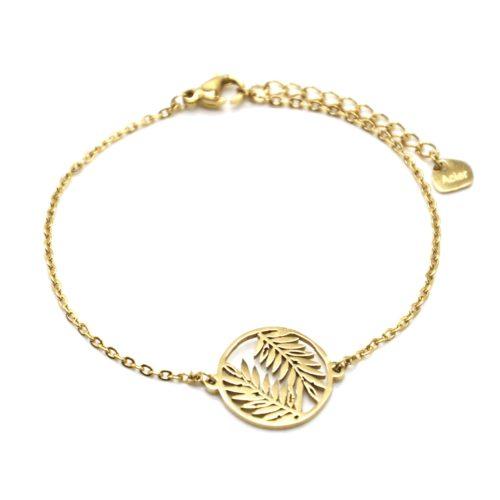Bracelet-Fine-Chaine-avec-Cercle-Ajoure-Feuilles-Acier-Dore