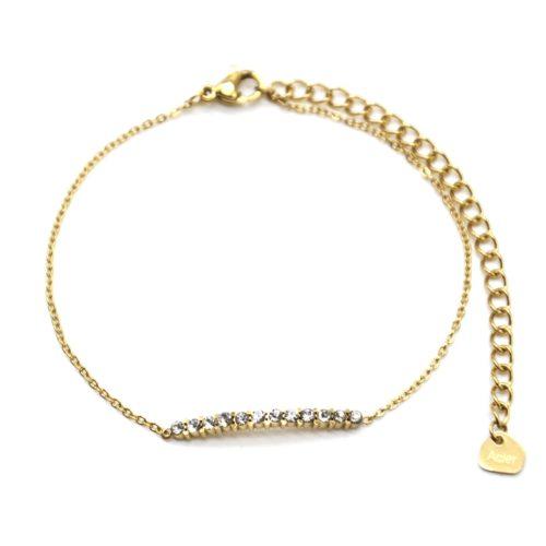 Bracelet-Fine-Chaine-Acier-Dore-avec-Barre-Multi-Strass
