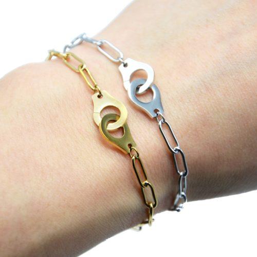 Bracelet-Chaine-Maillons-Ovales-avec-Menottes-Acier