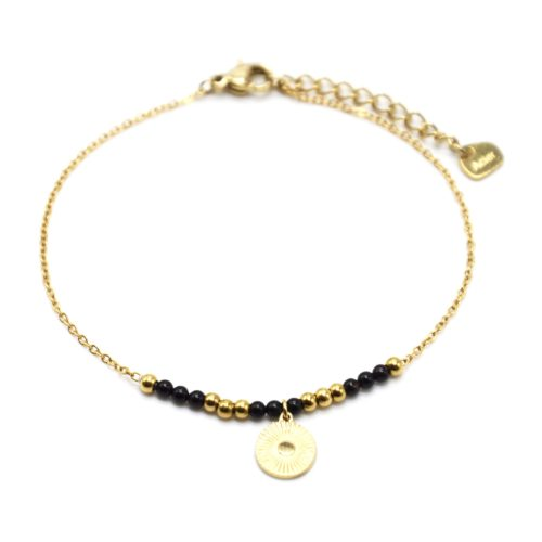 Bracelet-Fine-Chaine-avec-Medaille-Rayures-Acier-Dore-et-Perles-Noires