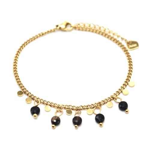 Bracelet-Chaine-Maillons-Fins-avec-Pampilles-Acier-Dore-et-Pierres-Resine-Noire