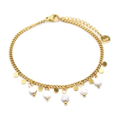 Bracelet-Chaine-Maillons-Fins-avec-Pampilles-Acier-Dore-et-Pierres-Resine-Blanche