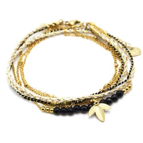 Bracelet-Multi-Rangs-Cordons-Chaines-avec-Feuilles-Acier-Dore-et-Perles-Noires