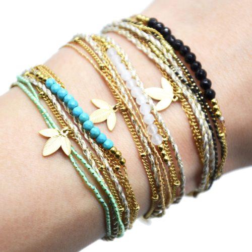Bracelet-Multi-Rangs-Cordons-Chaines-avec-Feuilles-Acier-Dore-et-Perles