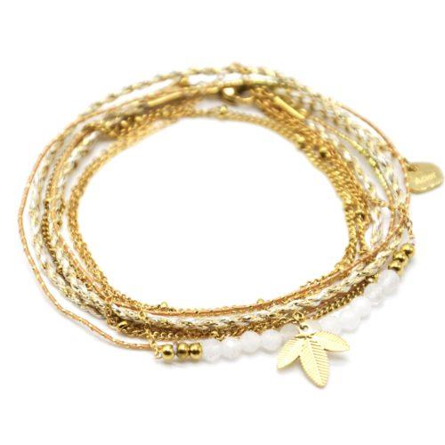 Bracelet-Multi-Rangs-Cordons-Chaines-avec-Feuilles-Acier-Dore-et-Perles-Blanches