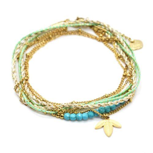 Bracelet-Multi-Rangs-Cordons-Chaines-avec-Feuilles-Acier-Dore-et-Perles-Turquoise