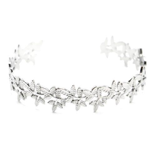 Bracelet-Jonc-Large-avec-Multi-Feuilles-Relief-Acier-Argente