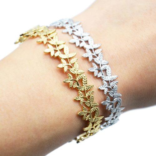 Bracelet-Jonc-Large-avec-Multi-Feuilles-Relief-Acier