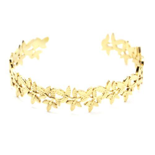 Bracelet-Jonc-Large-avec-Multi-Feuilles-Relief-Acier-Dore