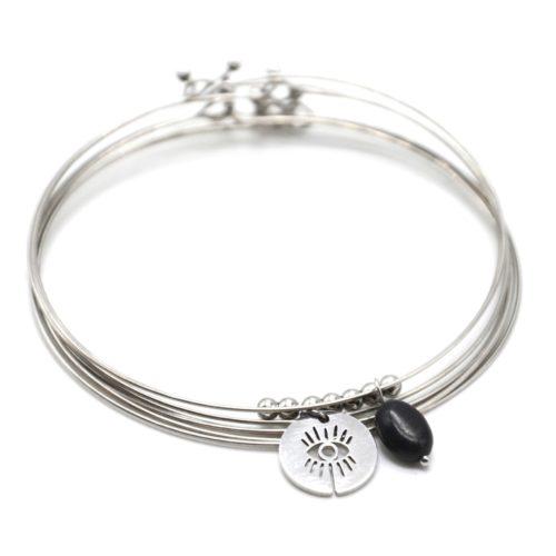 Bracelet-Semainier-Multi-Joncs-Acier-Argente-avec-Billes-Medaille-Oeil-et-Perle-Noire