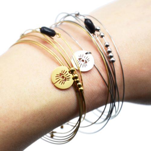 Bracelet-Semainier-Multi-Joncs-Acier-avec-Billes-Medaille-Oeil-et-Perle-Noire