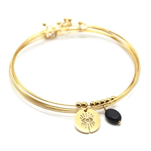 Bracelet-Semainier-Multi-Joncs-Acier-Dore-avec-Billes-Medaille-Oeil-et-Perle-Noire